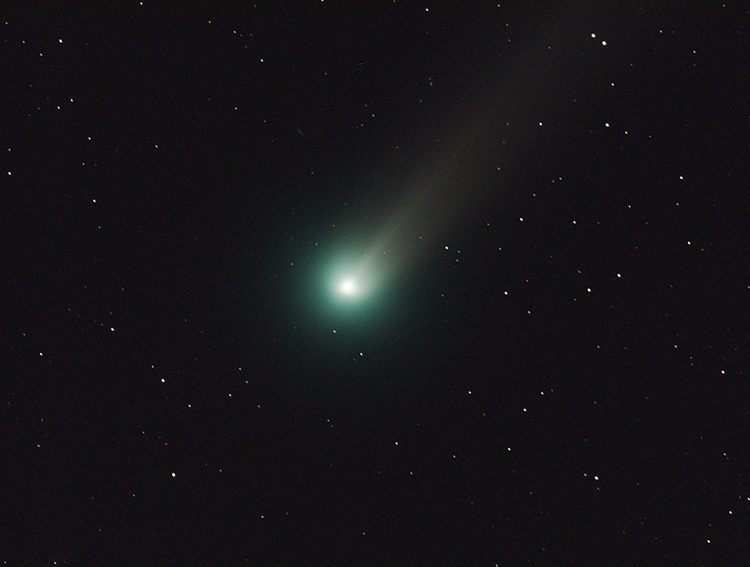 """One theory suggests that the Star of Bethlehem may have been a comet. This three-minute exposure of Comet Lovejoy was taken through a 6"""" refractor telescope on November 26, 2013. At 5th magnitude, the comet would have been difficult to spot without binoculars or other optical aid. (Image credit: NASA/MSFC/MEO/Aaron Kingery)"""