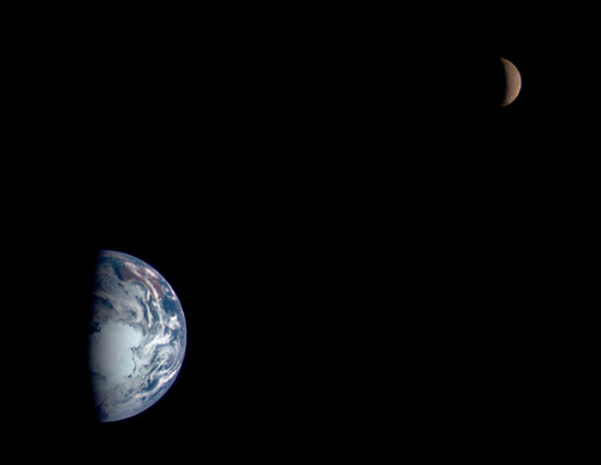 The relative positions of Earth, the moon, and the sun form the basis of our calendar. This composite image, acquired by the Near Earth Asteroid Rendezvous Spacecraft (NEAR), on its way to the asteroid 433 Eros, shows our planet and its moon at the relative size each appears when viewed from the other. For viewing purposes, the moon is shown five times brighter and ten times closer to Earth than it actually is. (Image courtesy NSSDCA Photo Gallery, NASA)
