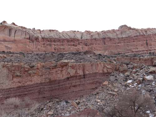 Scientists estimate that the geological processes that created the sandstone layers seen at Capitol Reef National Park in Utah spanned 200 million years; Torrey, UT (Image by Alex Demas, December 26, 2014; courtesy U.S. Geological Survey.)