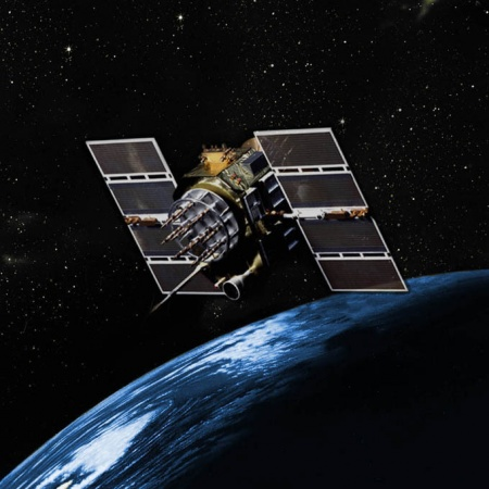 GPS Block IIA satellite orbits over the earth (Image by Scott Prater, Schriever Air Force Base, Colorado, November 2013; courtesy Defense Video and Imagery Distribution System).