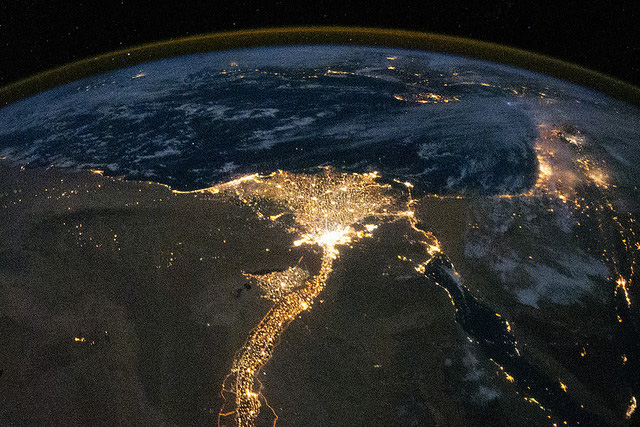 The Nile River delta and eastern Mediterranean at night. (Photo by ISS Expedition 25 crew, October 28, 2010; courtesy NASA)