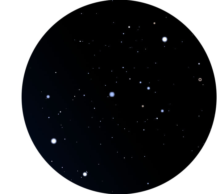 Orion's Belt, approximately as it appears through 9x63 binoculars (Image by Karen Bellenir based on a star field generated with ( Stellarium 0.13.2 ) with permission made available under the GNU General Public License.)