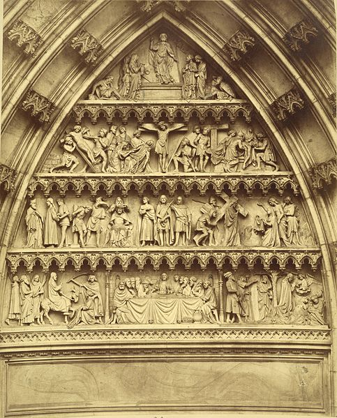 Cologne Cathedral. Tympanum. Architect: Meister (of Cologne) Arnold (German, active 1271-1299); Architect: Ernst Friedrich Zwirner (German, 1802-1861), Photograph date: ca. 1865-ca. 1881. Building Date: 1248-1880, Location: Europe: Germany; Cologne (Image credit: Cornell University Library, made available with no restrictions, via Wikimedia Commons).