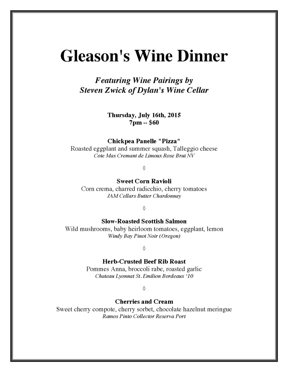 Gleason's Wine Dinner July 2015 with pairings.jpg