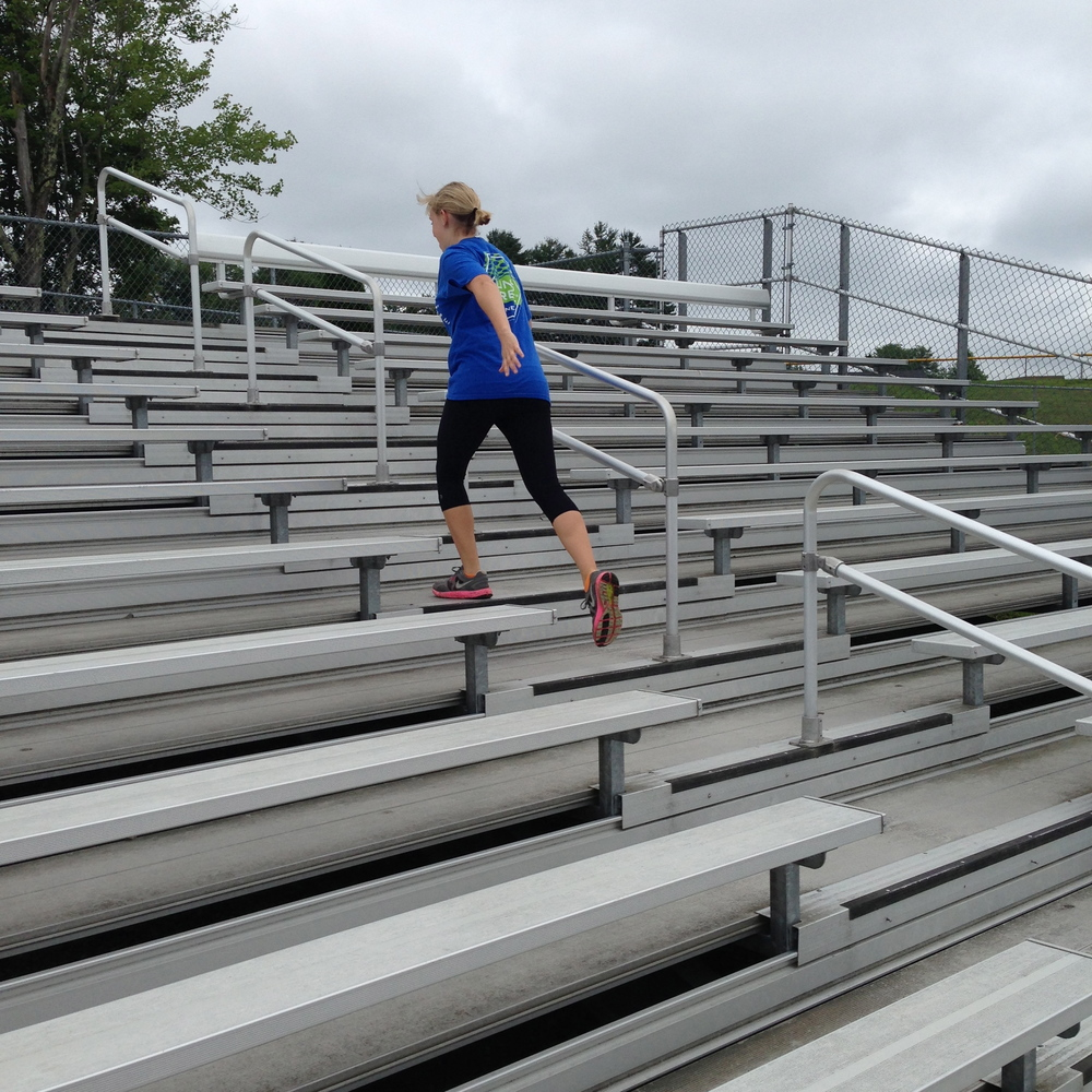 Running the bleachers at the local high school track field stadium