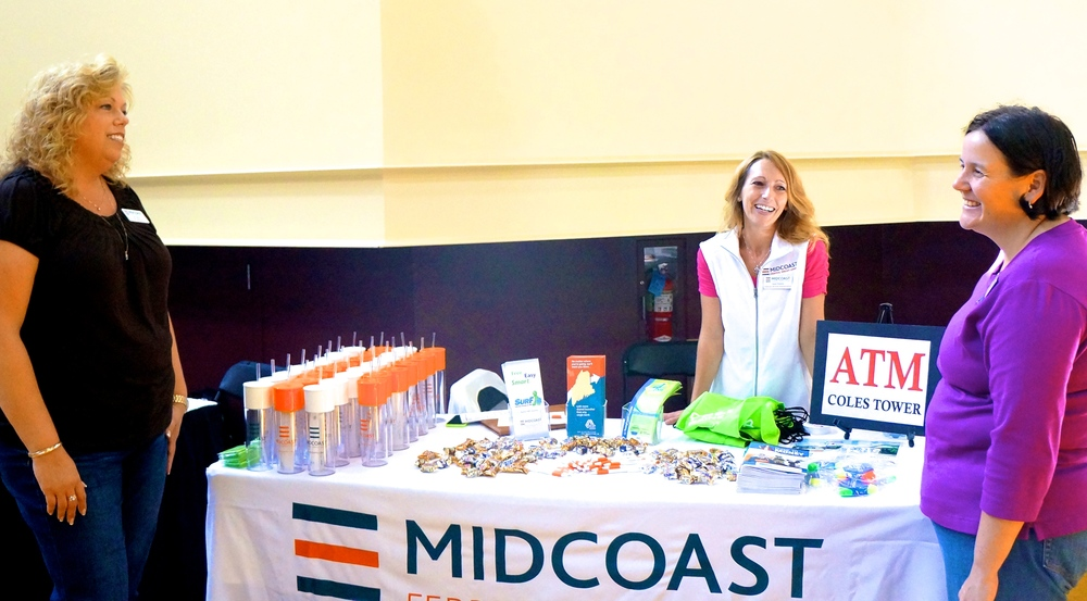 Midcoast Federal Credit Union team supporting local college students in Bowdoin at the Bowdoin College Fair, 2014.