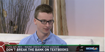 Young & Free Maine Spokester Jake Holmes talks ways in which college students can save on textbooks while promoting the Bucks for Books contest with Maine's credit unions during a statewide interview that aired on WCSH 6 and WLBZ 2.