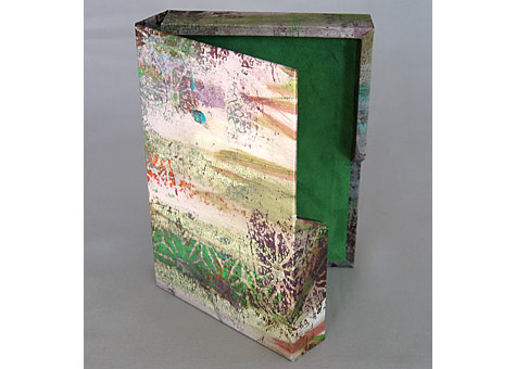 Binder: Catherine Kornel: Box #2 Paper designed by the binder: monoprint with collage.