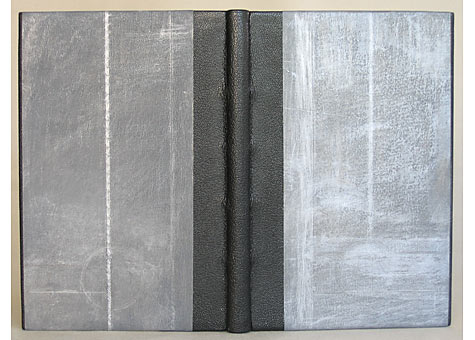 Binder: Sharon Long; Ansel Adams, The Negative, Exposure and Development. New York Graphic Society, Boston, 1948. Quarter leather goatskin binding in the French style with silk endbands. The cover paper is decorated with graphite and silver thread; graphite edge decoration, and paste paper end leaves by the binder.