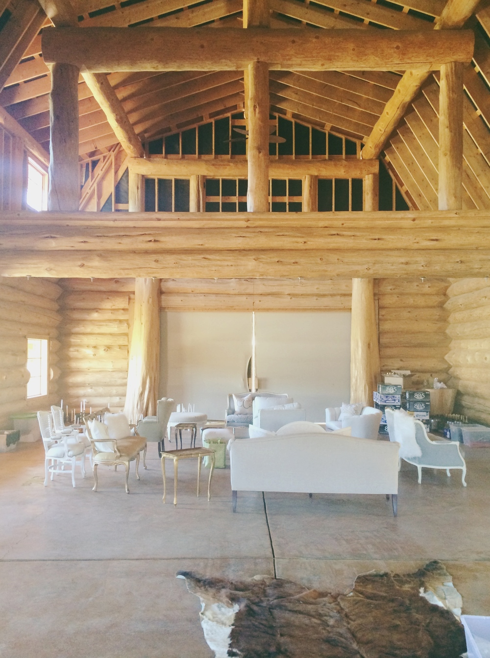 Staging Embellish Rentals vintage furniture in the barn!