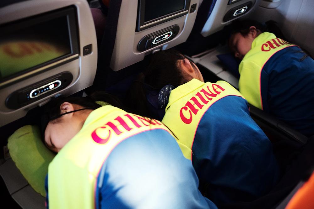 Cheerleaders youth team from Beijing sleeping.