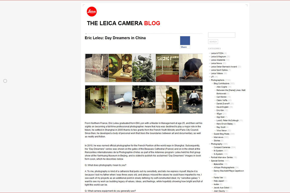 Screen capture of Leica's blog today.