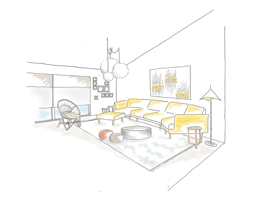 The opposing end of the room - a sketched version featuring the Ikea fabric panel and Jardan couch.