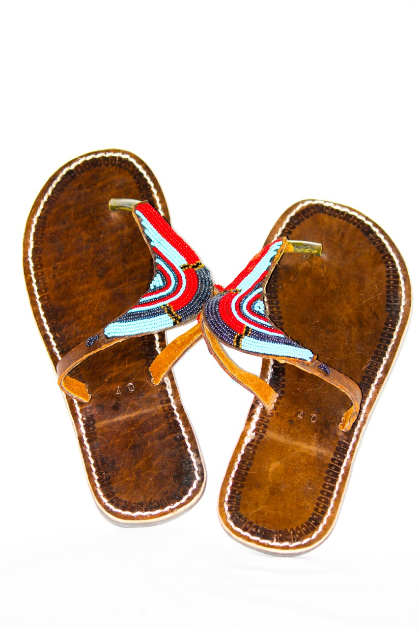 Leather Sandals small beads made by Maasai Family.jpg