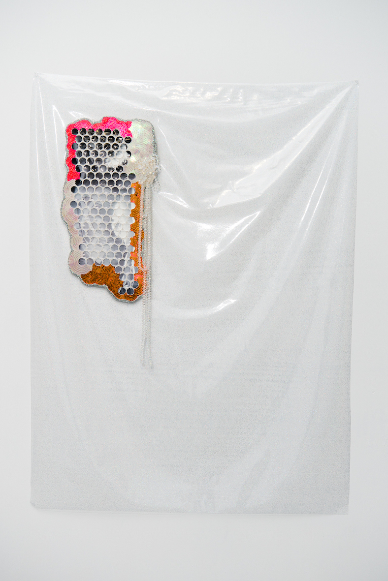 Feelin Fine #3  2016, Beyoncé calendar, cotton thread, sequins, trim, calico, beads, MDF, plastic