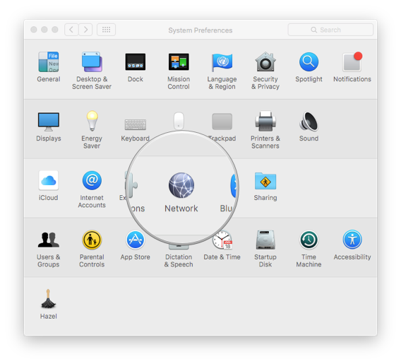 "1. Go to network settings in the System Preferences app. Or you can search for it using ""Network"" in Spotlight."
