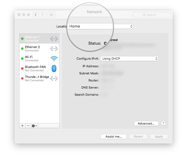 2. Click on the Location drop down menu at the top of the network settings page.