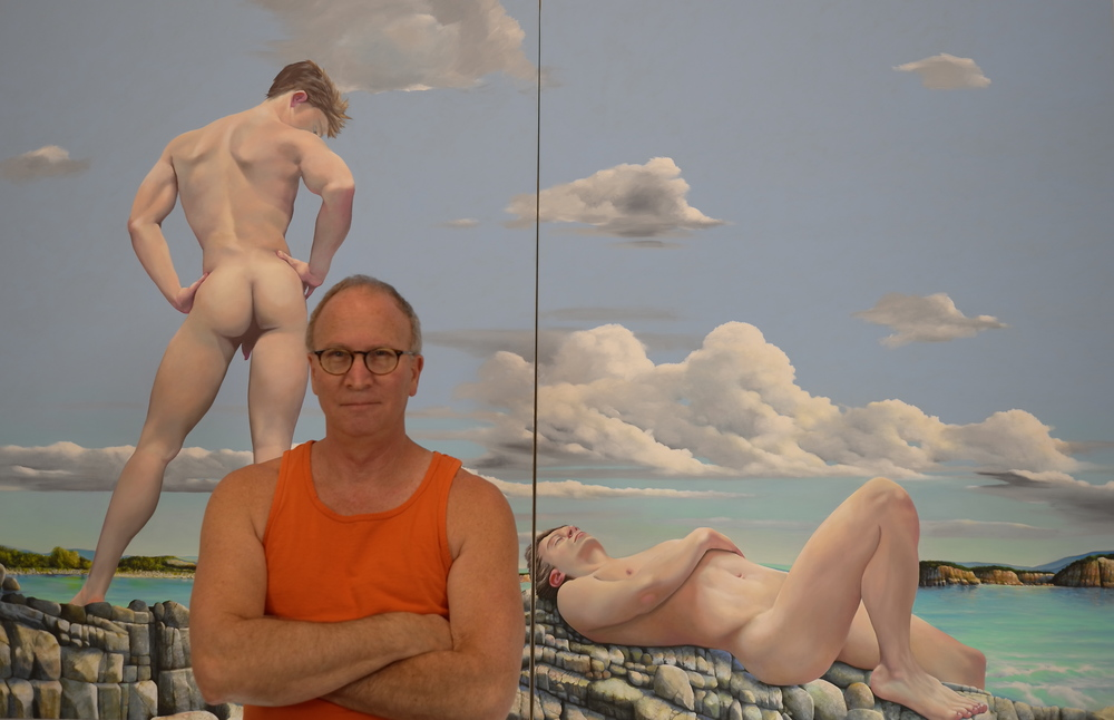 Les Satinover in front of current work: THE BATHERS   oil on canvas 5 X 8 feet  2014