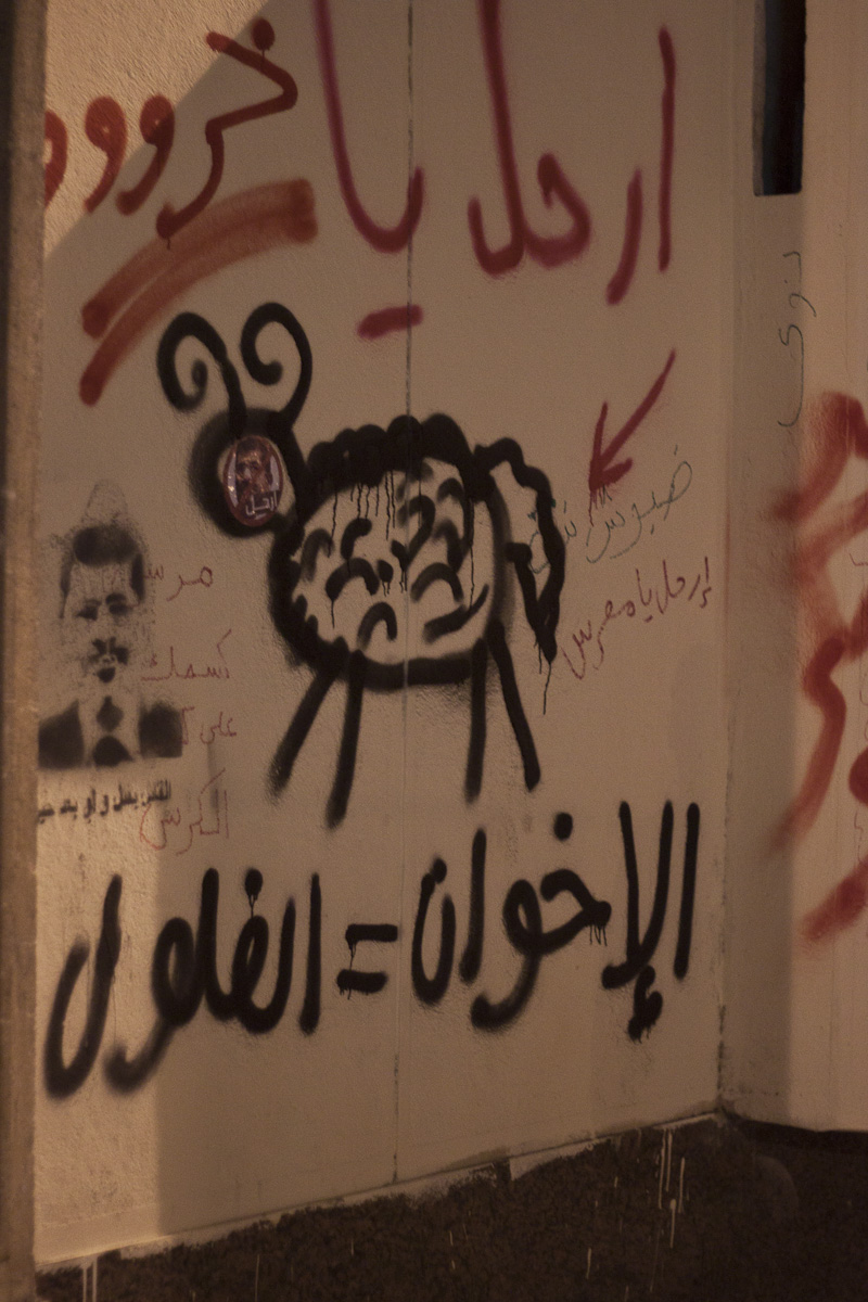 "Here is a sheep with a Morsi sticker over its face. The text above says ""Leave you sheeeep!"" The text below says ""Muslim Brotherhood = felool (remnants of the old regime)"""