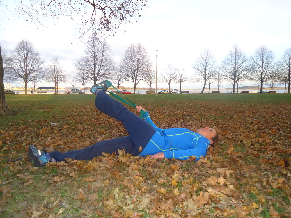 Hamstring stretch part 2 in the leaves to mix things up.