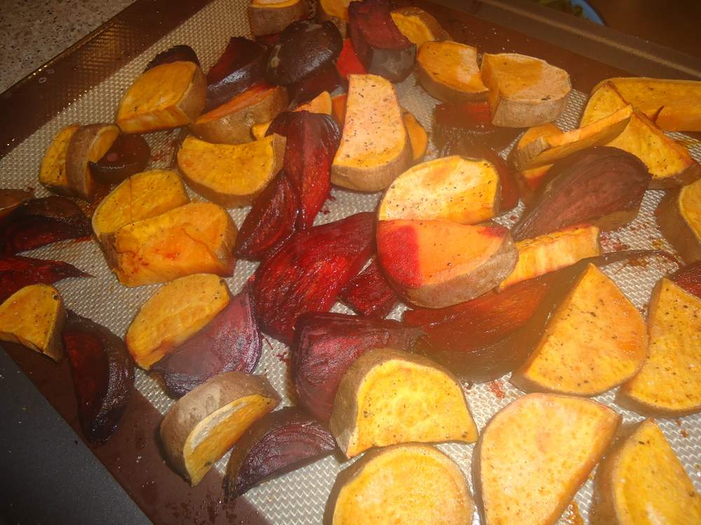 Roasted Beet & Sweet Potato Fries