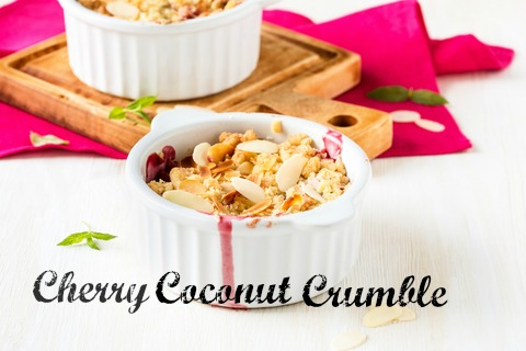 This Cherry Coconut Crumble is the perfect Summer Dessert that's healthy, delicious, and shows off your organic cherries.
