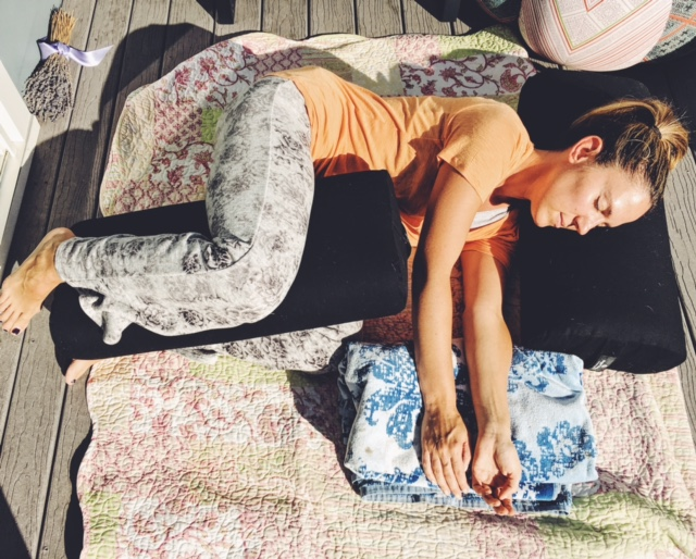 Side lying shavasana restorative yoga pose