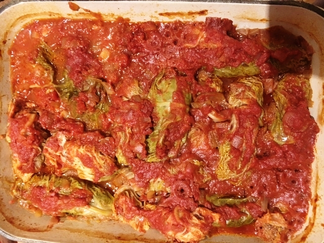 Gluten free stuffed cabbage fresh from the oven