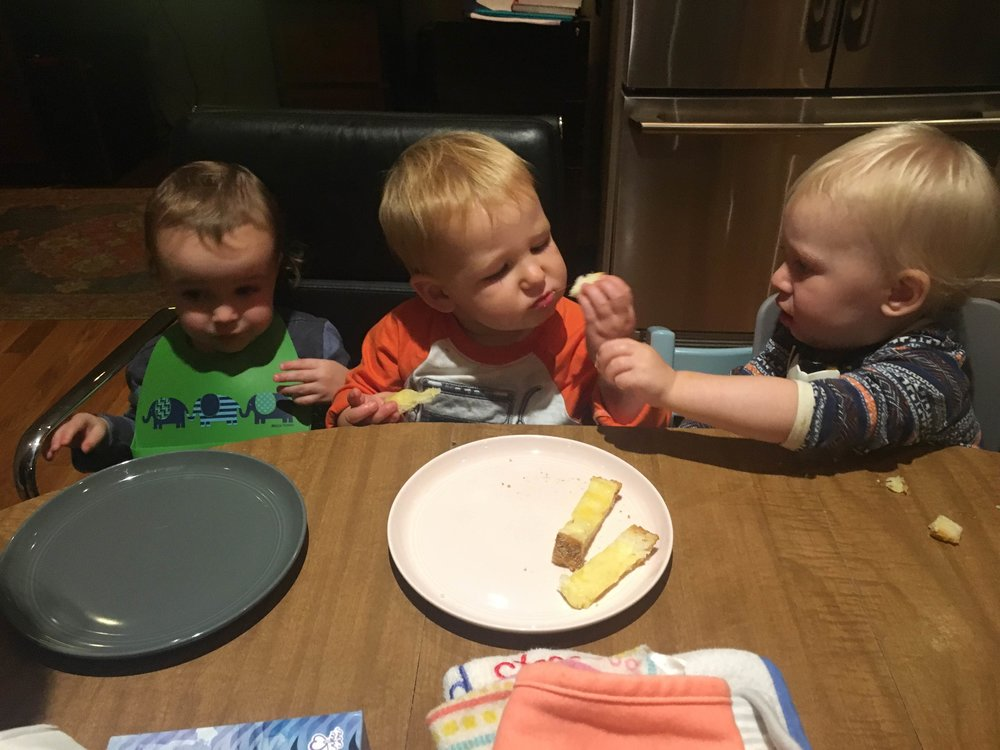Tommy (pictured right) and his friends Hudson (left), and Declan (center) taste testing.