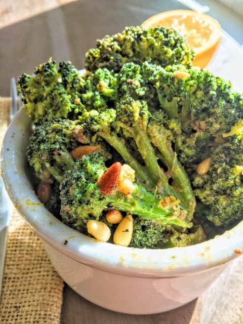 Broccoli w Creamy Orange Sauce & Toasted Pinenuts