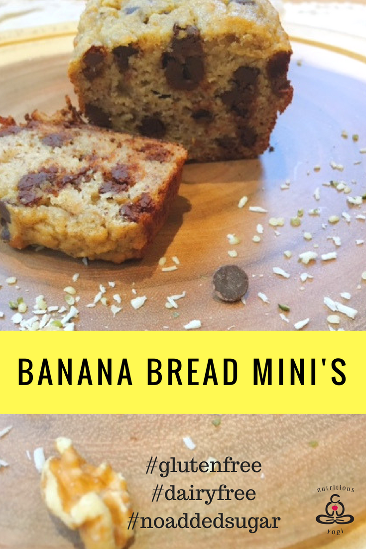 Banana Bread Mini's: Gluten Free, Dairy-Free, No added Sugar