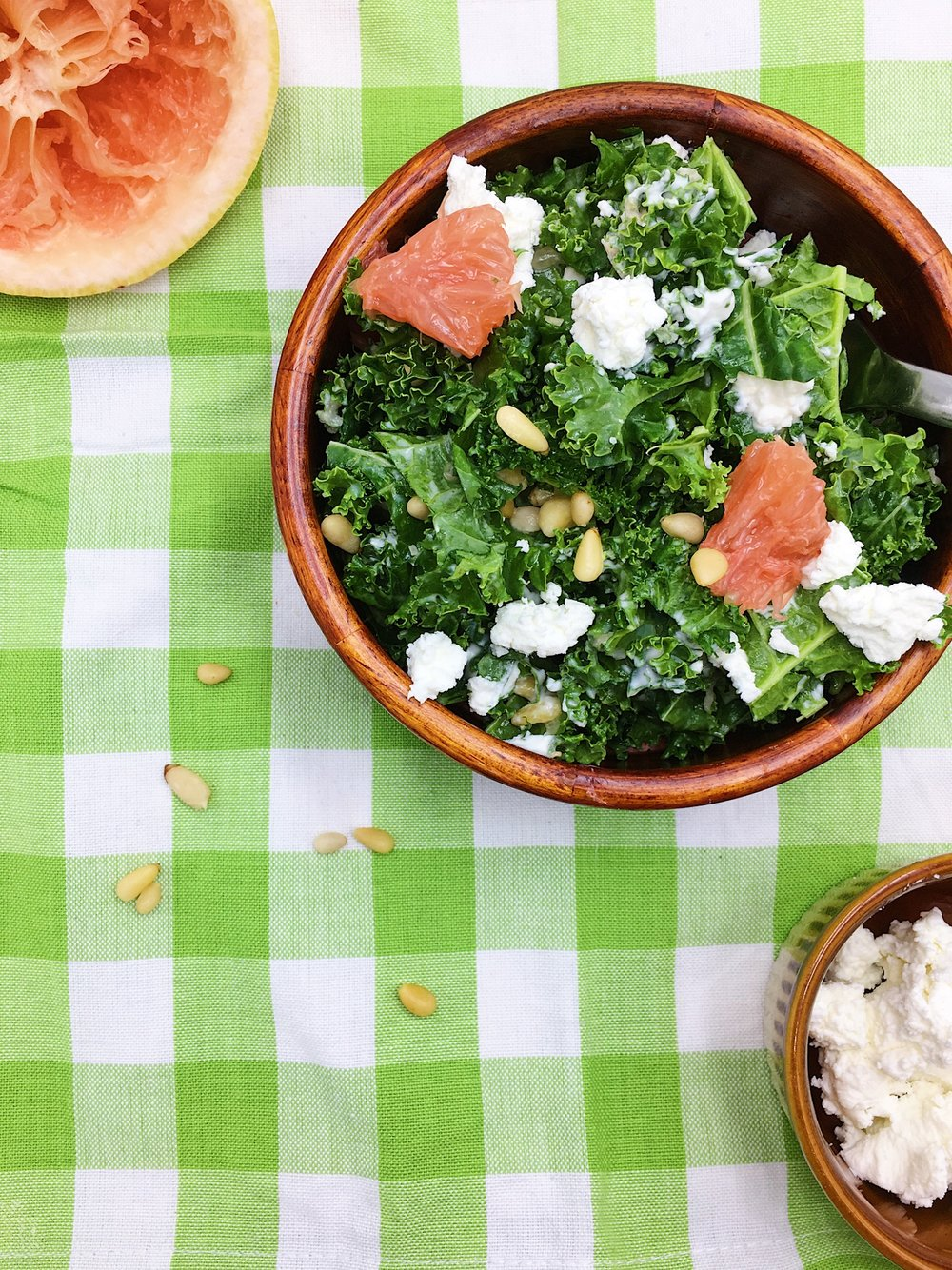 Kale Salad with Creamy Grapefruit Vinaigrette