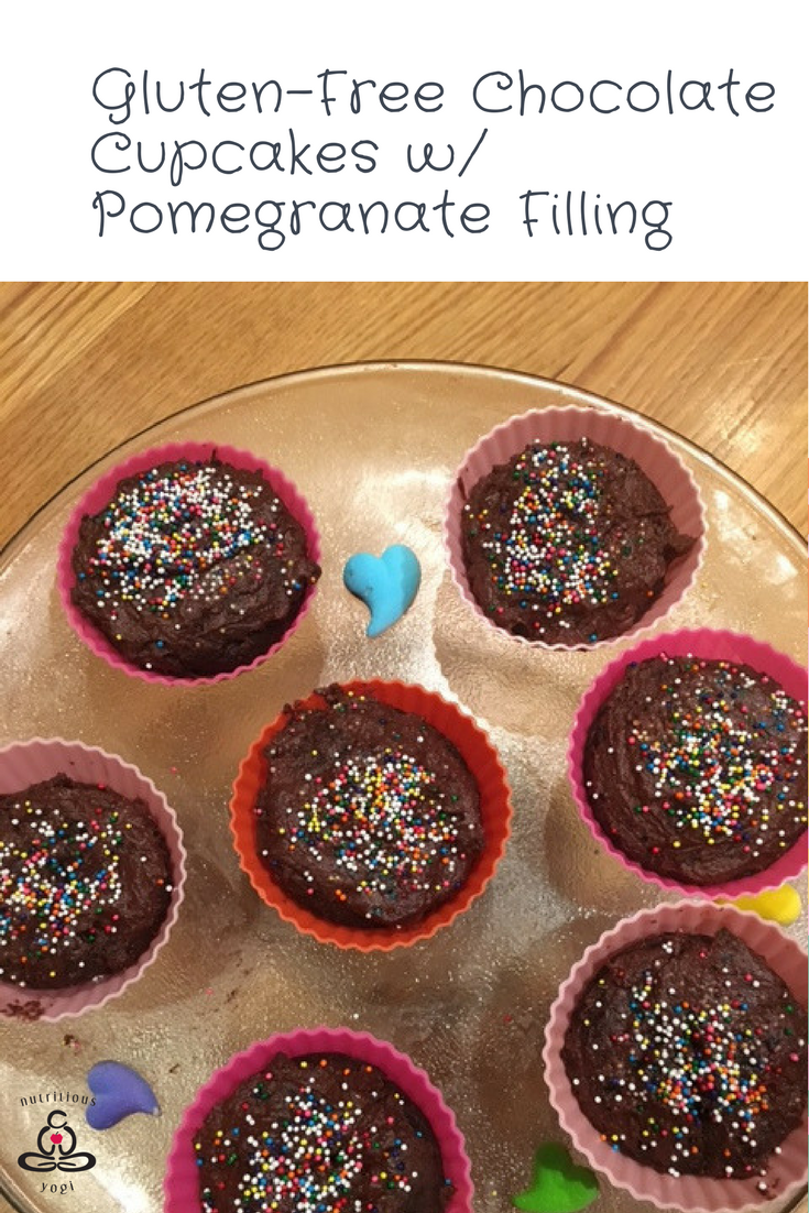 Gluten Free Chocolate Cupcakes with Pomegranate Filling