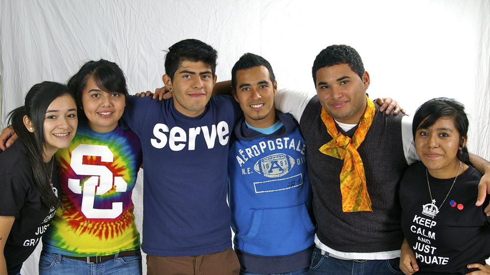 La Cima Retreat: Junior Counselors with Jair. From left: Monica Vera, Karen Fierro, Jesus Castellanos, Jair Juarez, Manuel Licona, and Gris Rojas.