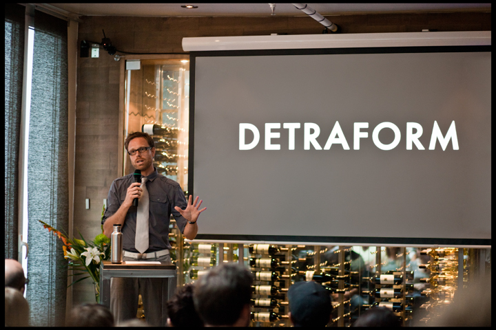 Detraform founder Joel Blair at DesignMeets Montreal Sept 21. Here's the brief: Happy Inside. In a marketplace that encourages over-consumption and rapid obsolescence, can we create meaningful consumer products that reflect our personal ideals while still creating wealth for our businesses? (photo by Will Lew)