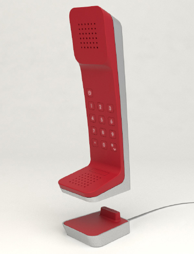 The Dētraform model 500 cordless telephone hovering magically over its base station.