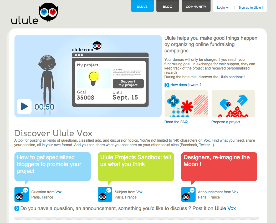 Today Ulule launched in BETA mode. Ulule is a crowd funding service based in Paris. Look for our Ulule account to appear in August. www.ulule.com