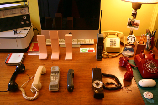 June 2010. Detraform HQ. Freshly arrived foam models from Kiwi&Pom are surrounded by 80 years of telephone design.