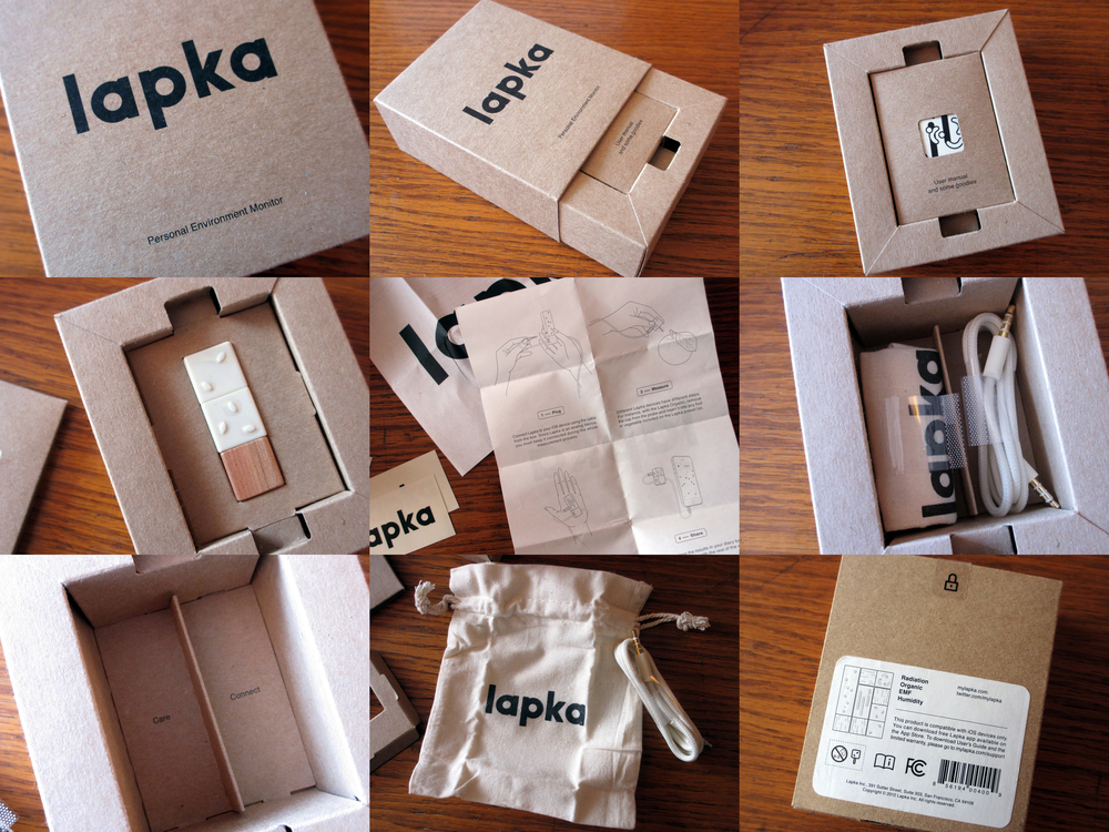 Delightful Lapka packaging includes playful instructions, stickers, cloth cable and even graphic details on the wrapping stickers.