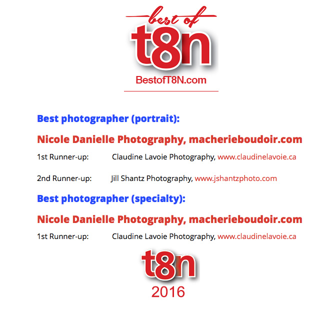 "Winner in 2 categories 2016 ""Best Of"" 2016 T8N Magazine"