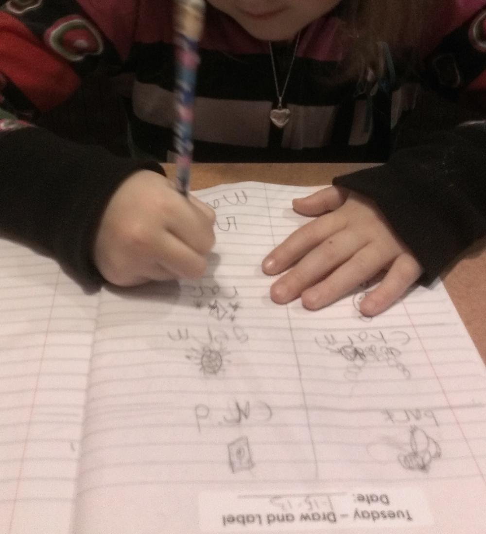 First-grade homework.