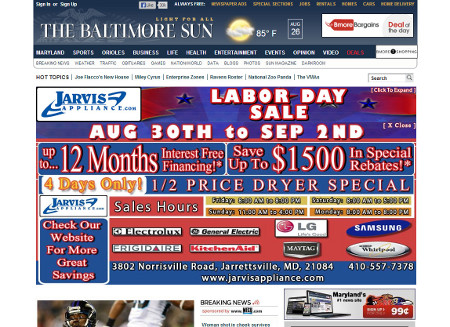 Baltimore Sun homepage takeover ad.