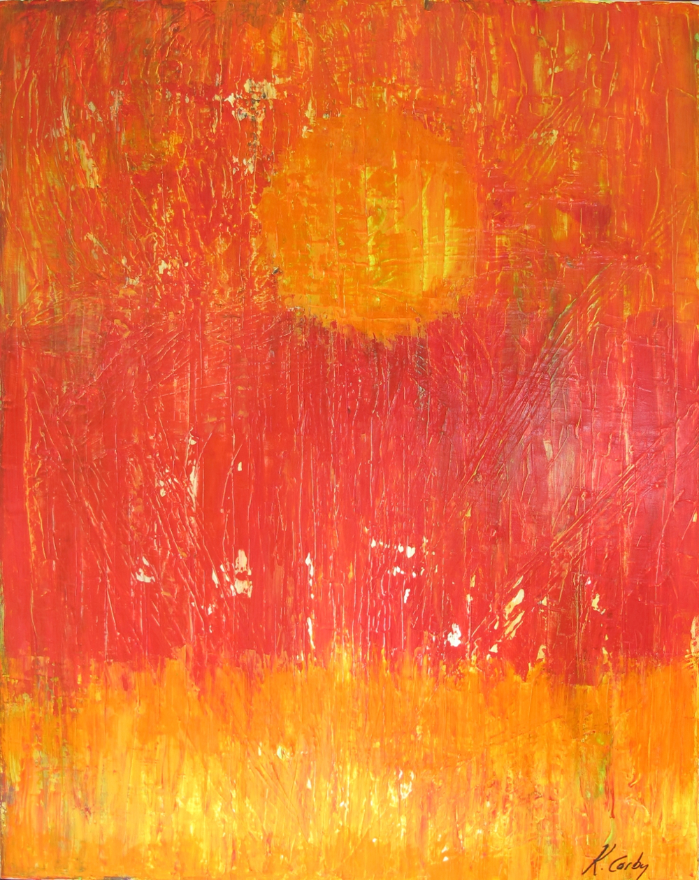 "Tequila Sunrise | 39"" x 31"" Acrylic on Canvas 