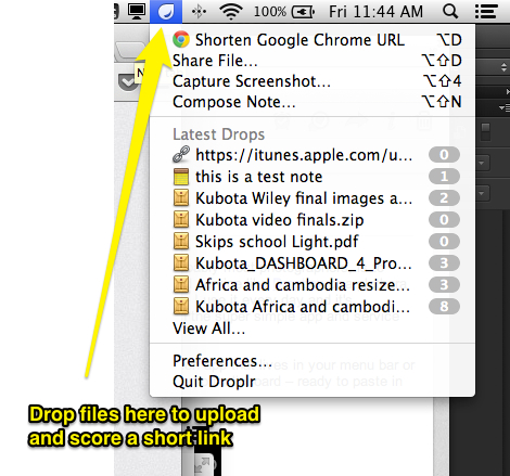 Droplr installed in the Mac menu bar