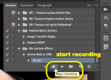 "click the triangle to open up the action steps and select the last step, ""Scripts"", then click the record button."
