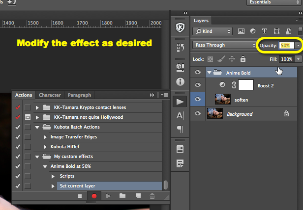 Modify the action as desired, for example, lower the opacity to reduce the effect. Make as many mods as you want.