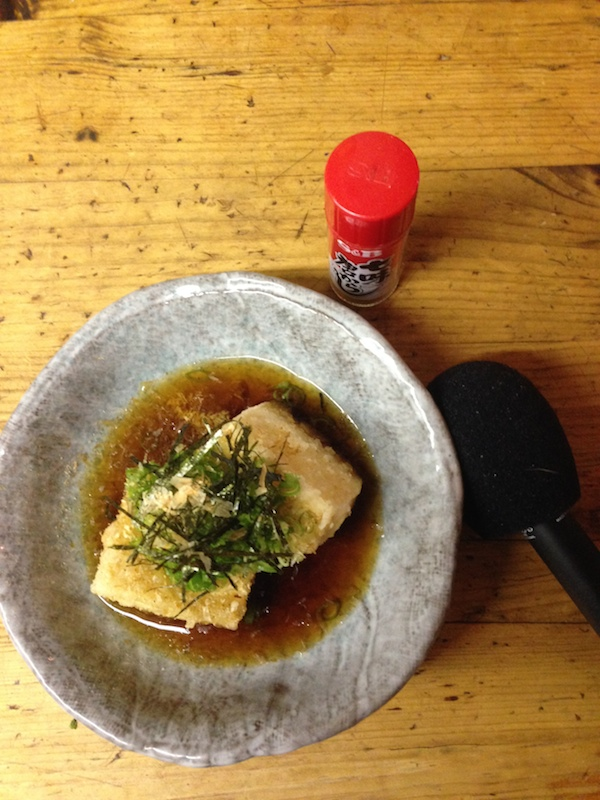 Microphones and agedashi tofu go rather well together.
