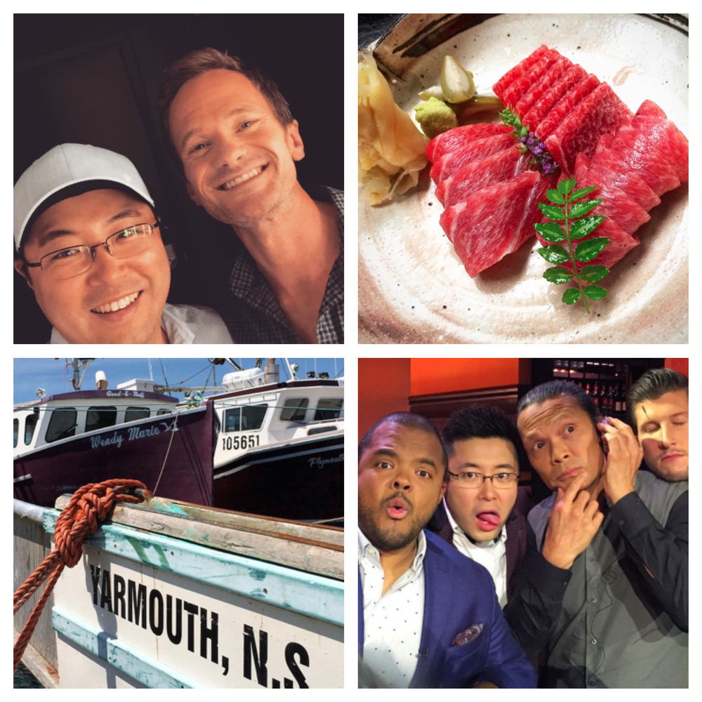 Clockwise from top left: Park and Neil Patrick Harris, a selection from Park's restaurant, Park and his fellow judges on Chopped Canada, down at the wharf in Yarmouth, NS. All images from  Antonio Park's Instagram feed , which you should check out.