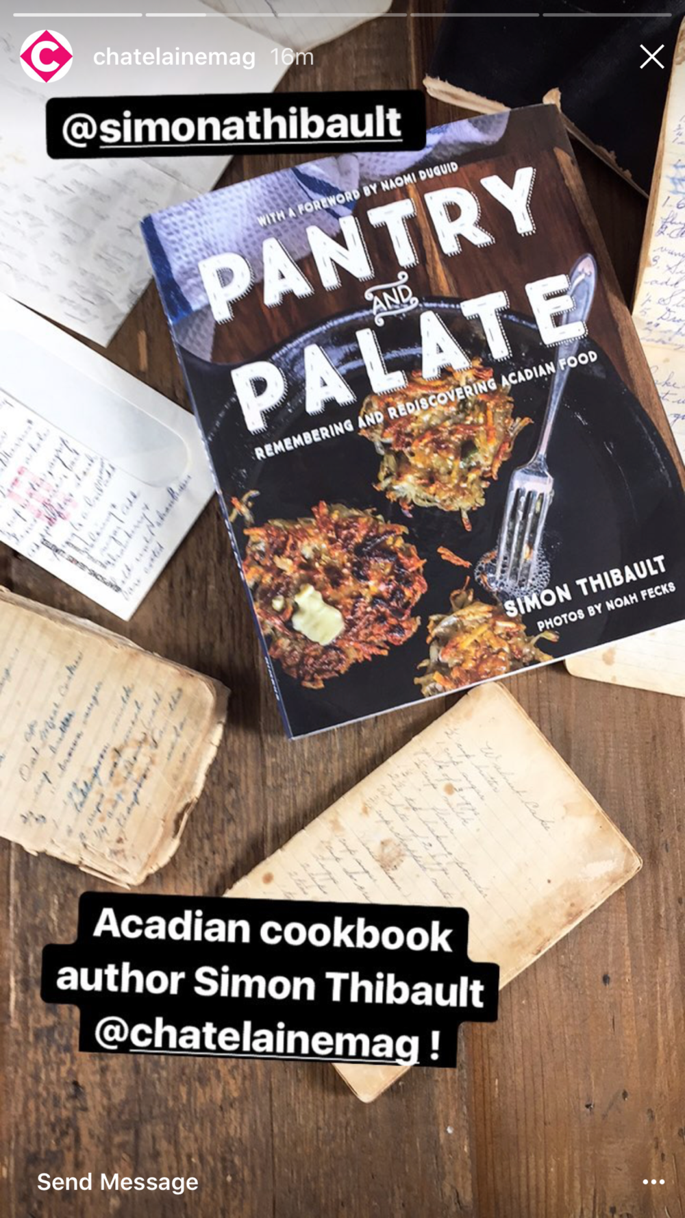 A glimpse of Chatelaine's Instagram Stories promoting  Pantry and Palate .