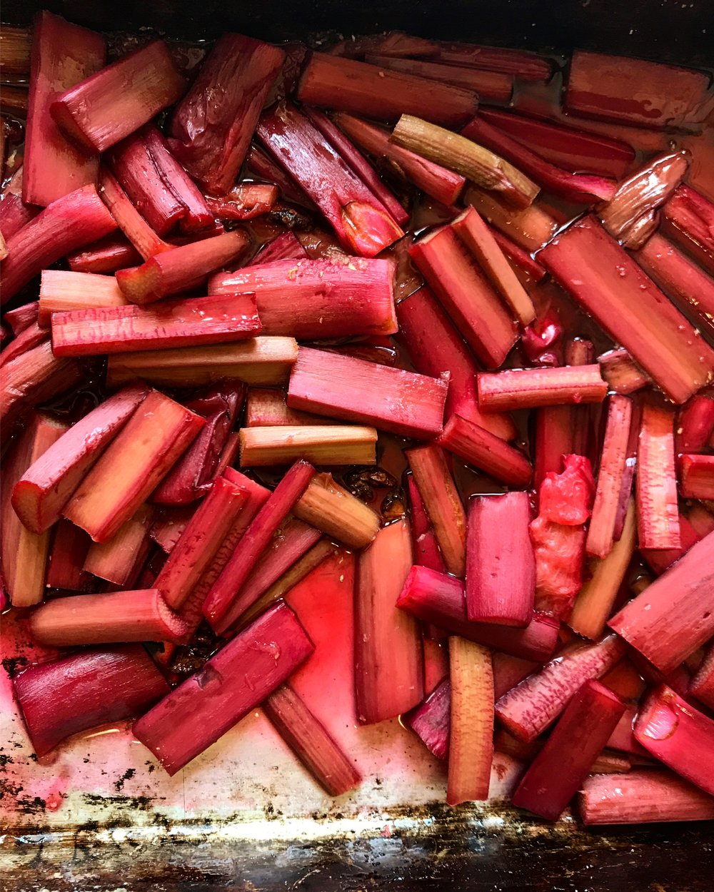 A glut of rhubarb, roasted with ginger and star anise.
